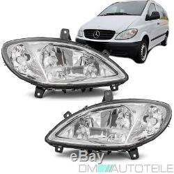 Mercedes Vito Viano W639 Clear Glass Headlights Set H7 / H7 / H7 + Anti-fog 03-10 Oe Look