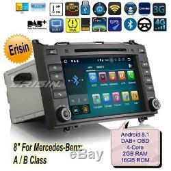 Android 8.1 Mercedes A B Class W169 W245 Viano Autoradio GPS DAB+ TNT OBD 3821FR