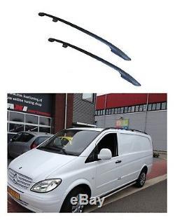 Barres De Toit Roof Rails Aluminium Noir Pour Mercedes Vito Viano W639 Long Neuf