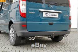 Fox Duplex Inox Échappement Sport Mercedes Vito et Viano W639 Ré / Li par 2x80mm