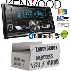 Kenwood Autoradio pour Mercedes Vito Viano 639 Bluetooth USB Apple Android Kit